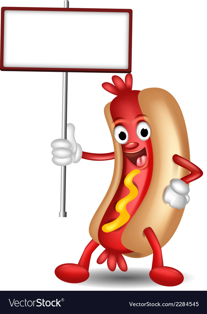 Hot dog cartoon holding blank sign vector | Price: 1 Credit (USD $1)