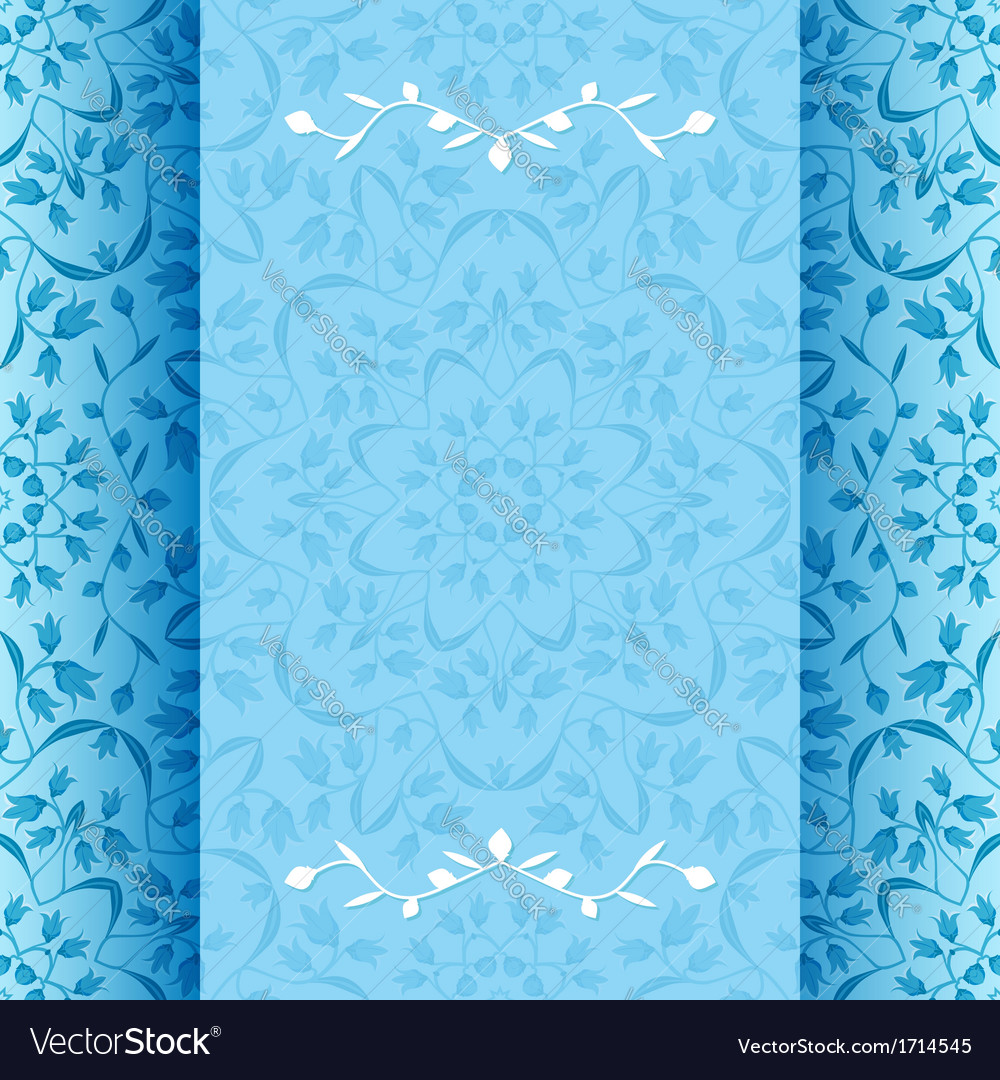 Invitation card with blue flowers vector | Price: 1 Credit (USD $1)