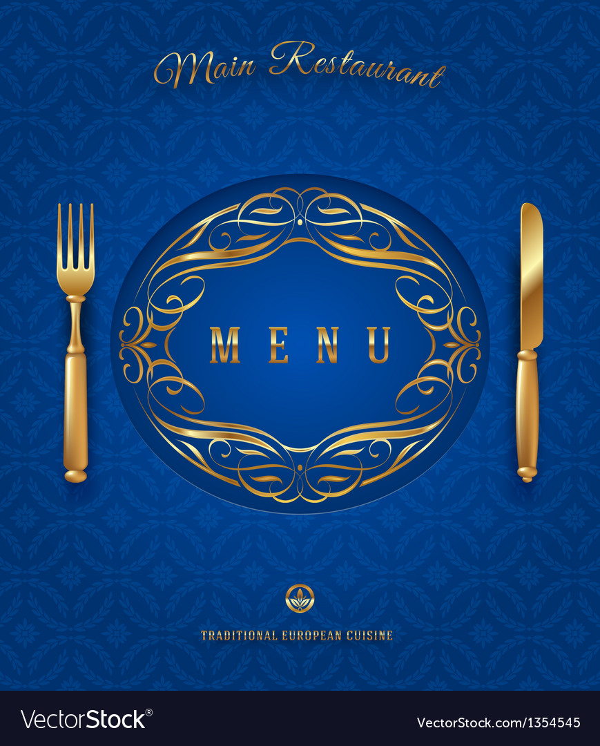 Menu with golden cutlery and ornate elements vector | Price: 3 Credit (USD $3)
