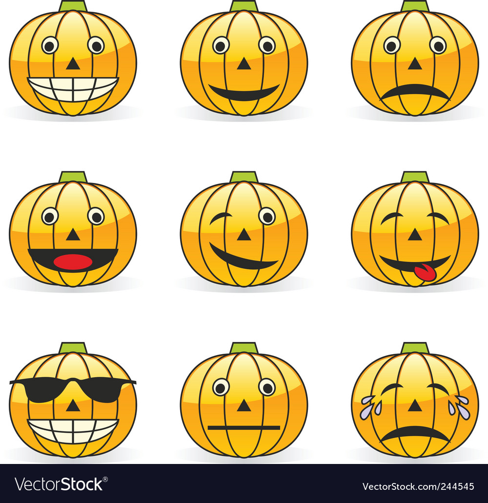 Pumpkin emoticons vector | Price: 1 Credit (USD $1)