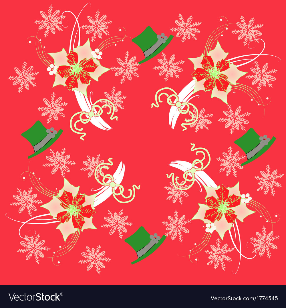 Red pattern with poinsettia and snowflakes vector | Price: 1 Credit (USD $1)
