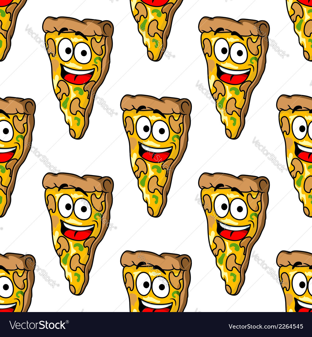 Seamless pattern of mushroom pizza slices vector | Price: 1 Credit (USD $1)