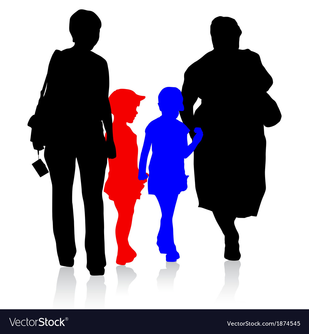 Silhouette of family mother and children and vector | Price: 1 Credit (USD $1)