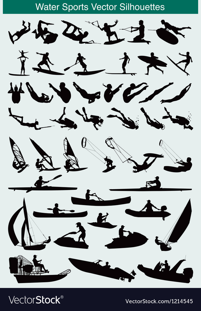 Water sports silhouettes vector | Price: 1 Credit (USD $1)