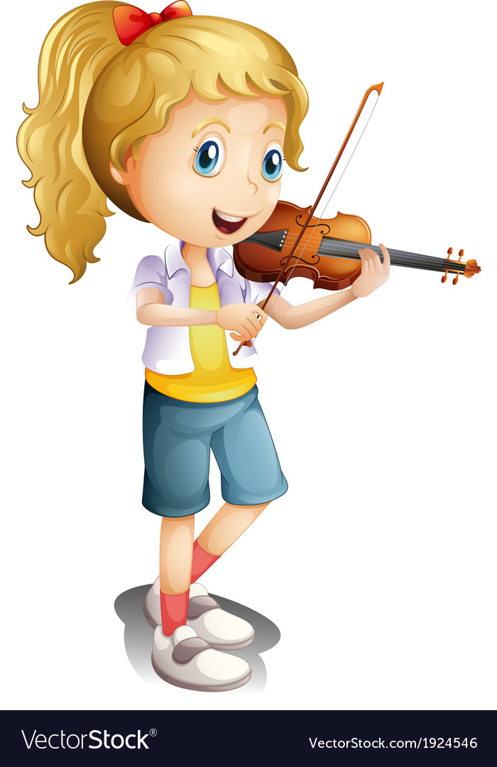 A girl playing with her violin vector | Price: 3 Credit (USD $3)