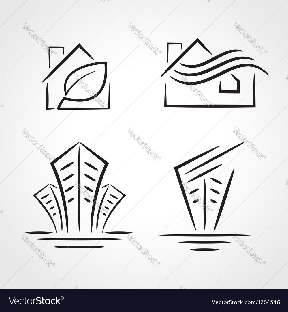 Building development symbol emblem set vector | Price: 1 Credit (USD $1)