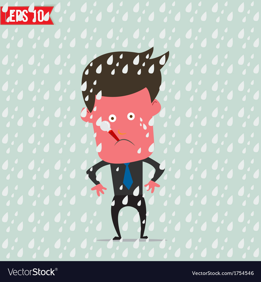 Cartoon business man use thermometer measure vector | Price: 1 Credit (USD $1)