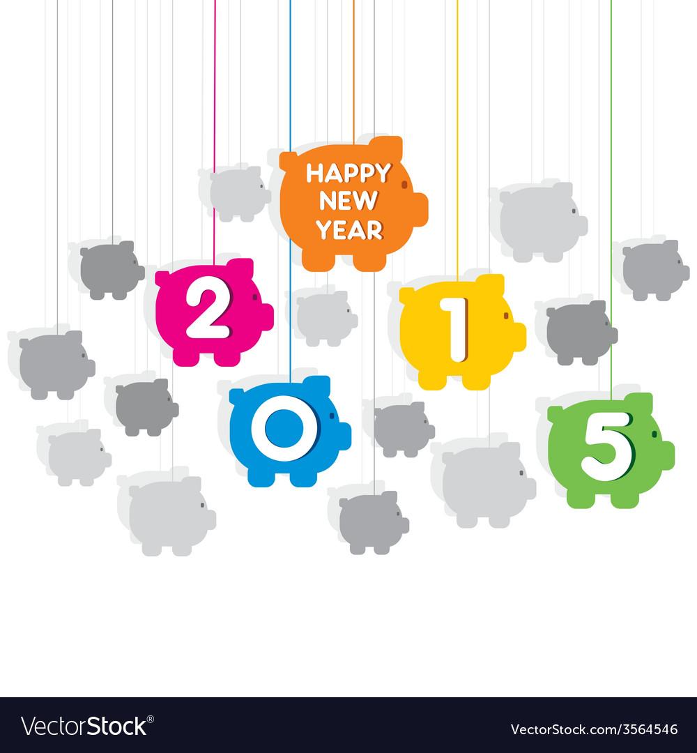 Creative new year 2015 piggy bank theme design vector | Price: 1 Credit (USD $1)
