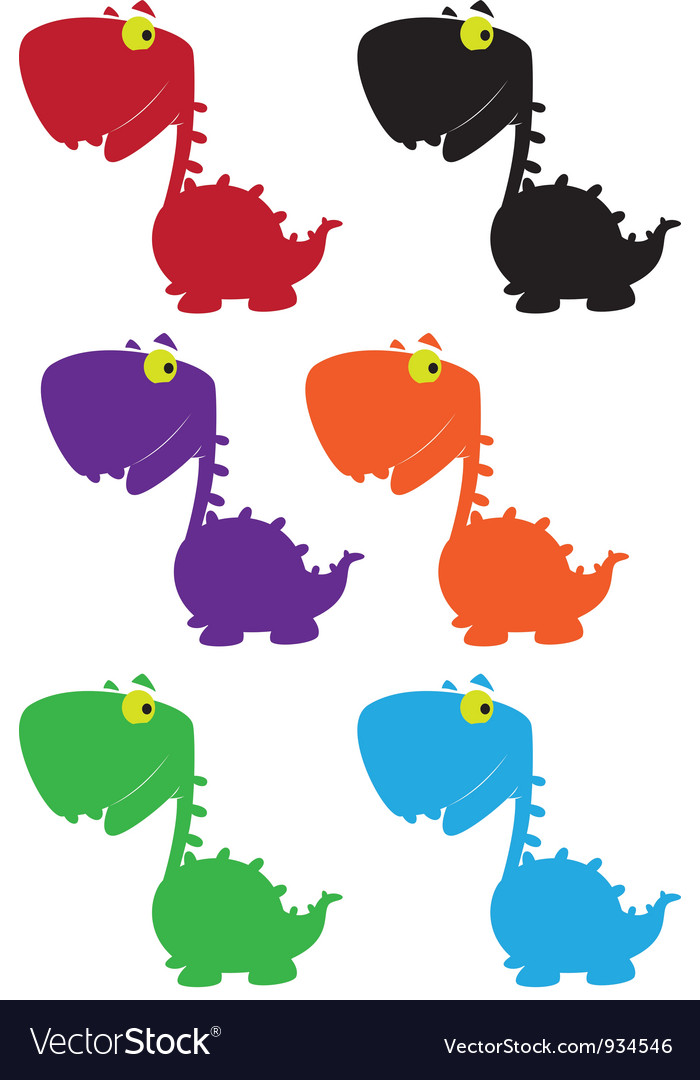 Dino cartoon cute color vector | Price: 1 Credit (USD $1)
