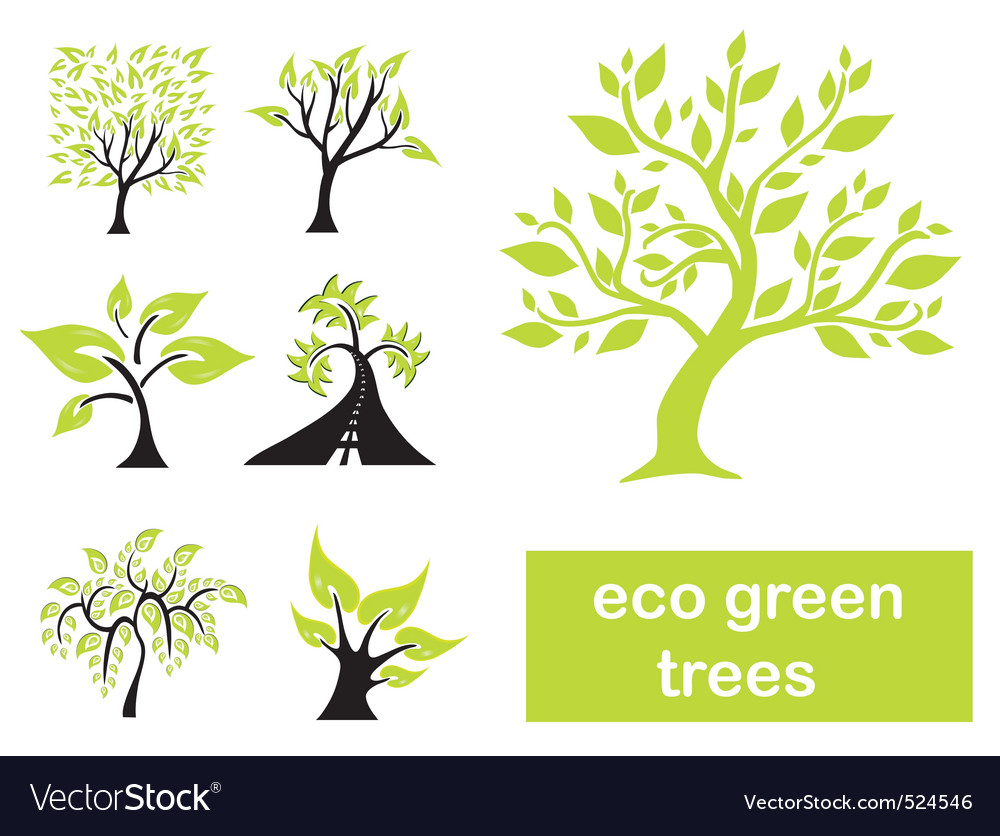 Eco green trees vector | Price: 1 Credit (USD $1)