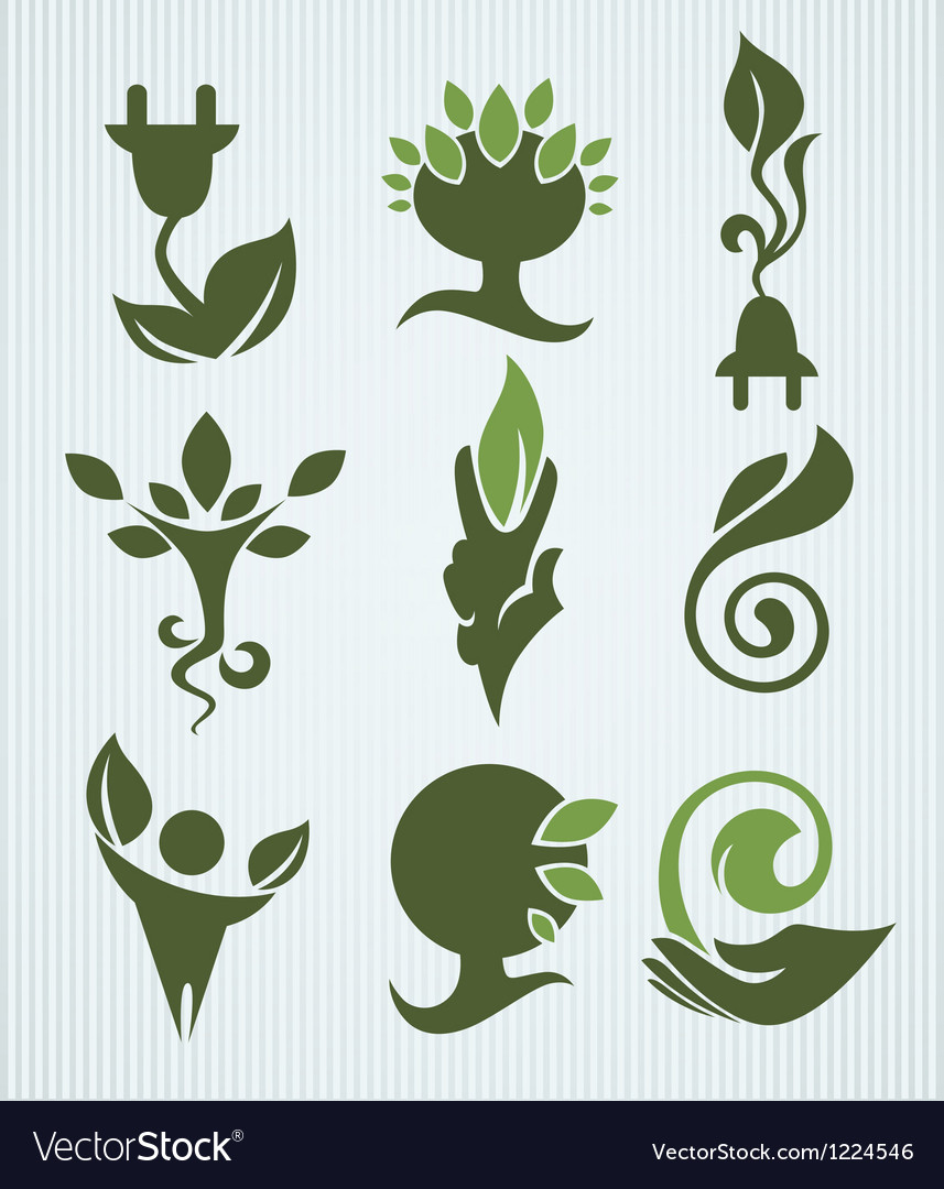 Ecology and green energy collection vector | Price: 1 Credit (USD $1)