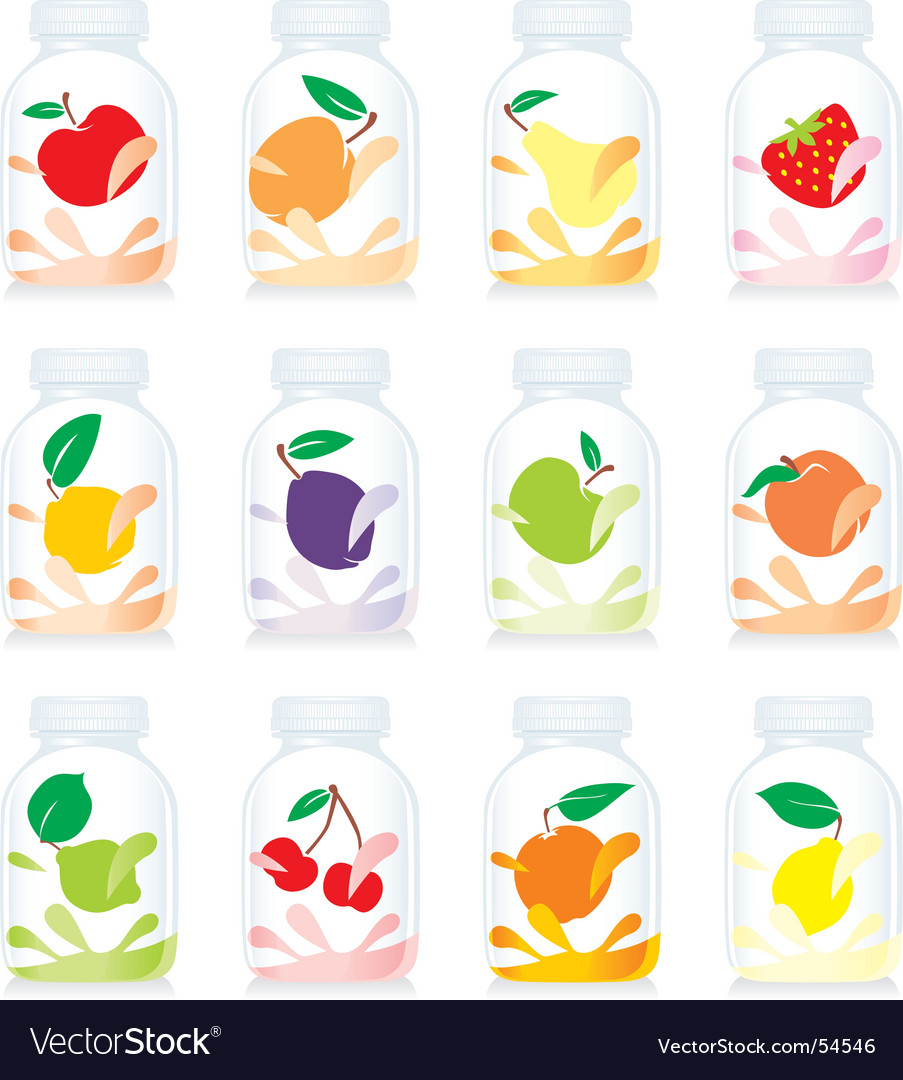 Fruit yogurt glass bottles vector | Price: 1 Credit (USD $1)