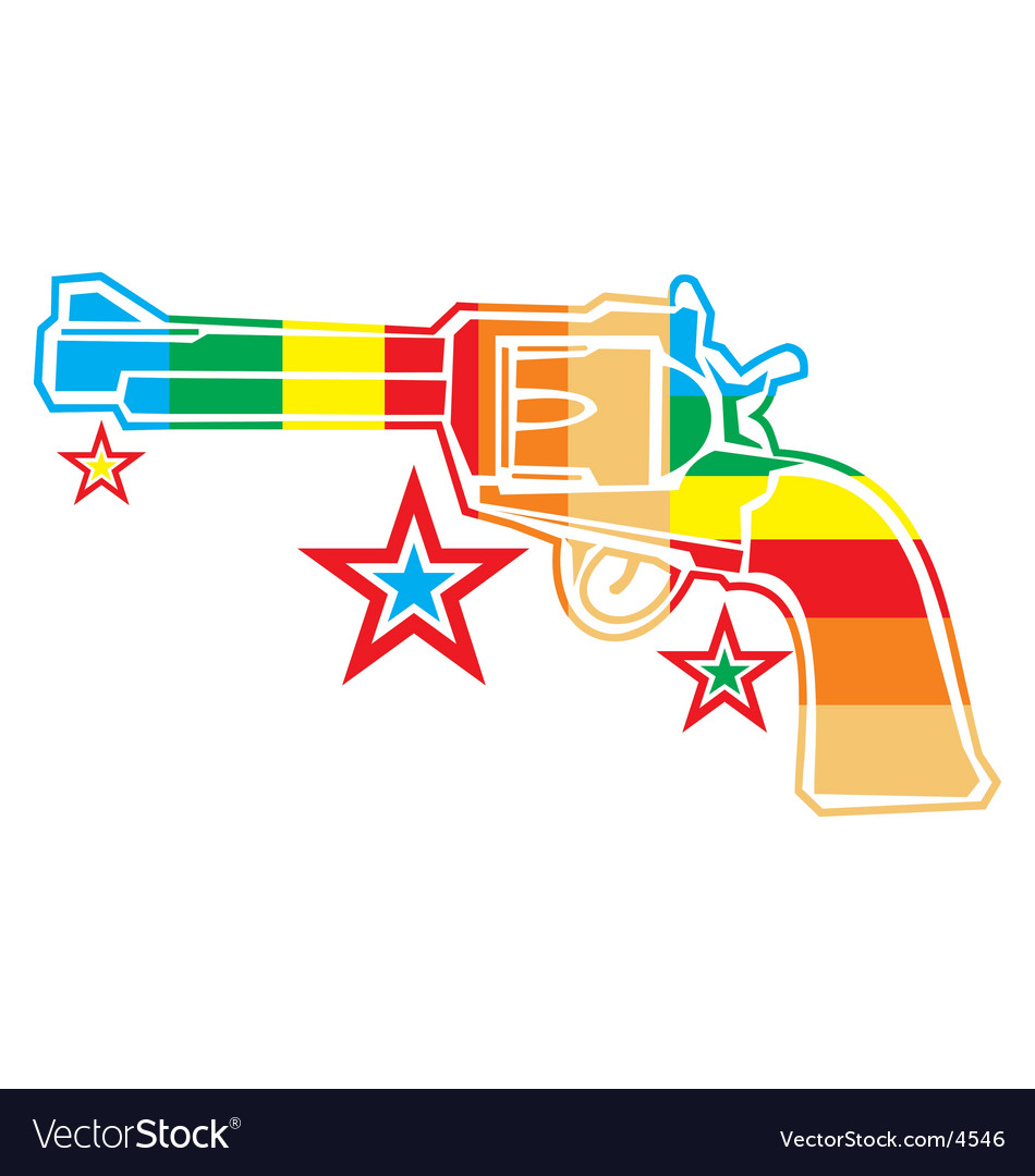 Gun rainbow vector | Price: 1 Credit (USD $1)