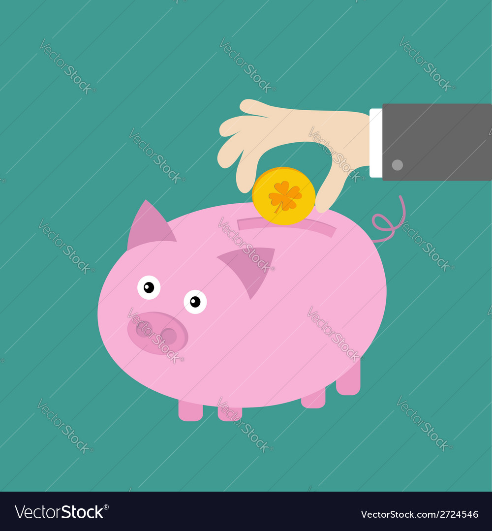 Hand and piggy bank with four leaf clover coin vector   Price: 1 Credit (USD $1)