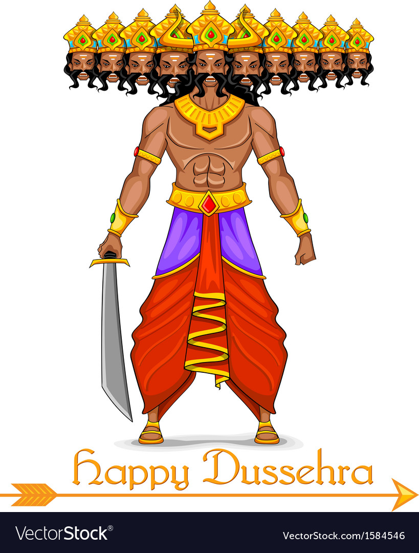 Ravana with ten heads for dussehra vector | Price: 1 Credit (USD $1)