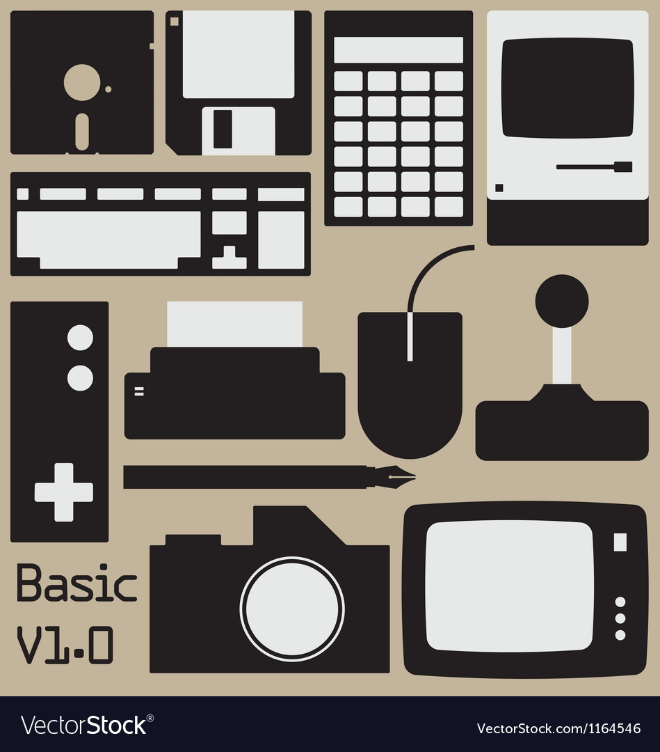 Retro computing collection vector | Price: 1 Credit (USD $1)