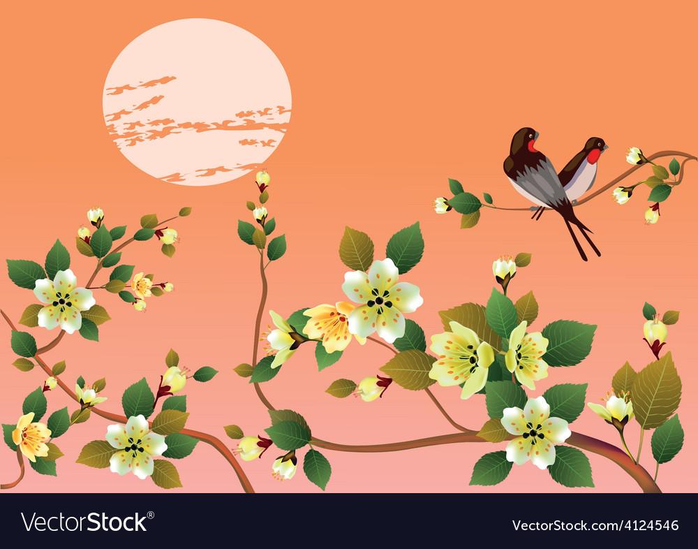 Sakura bird postcard menu vector | Price: 1 Credit (USD $1)