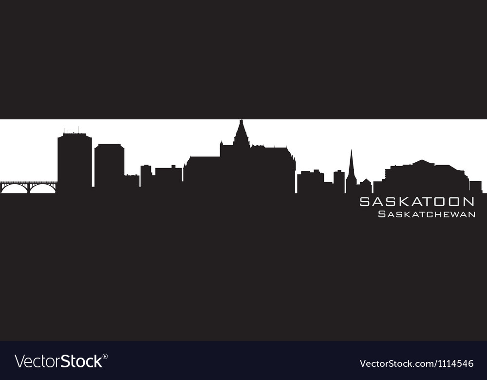 Saskatoon canada skyline detailed silhouette vector | Price: 1 Credit (USD $1)