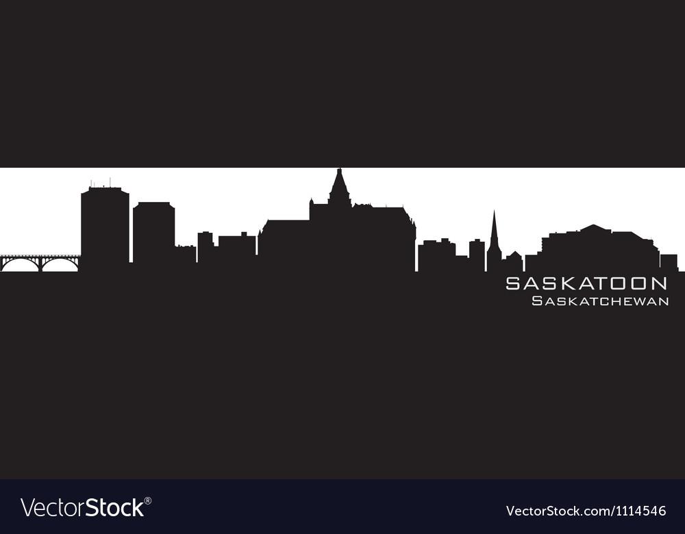 Saskatoon canada skyline detailed silhouette vector | Price: 1 Credit (USD $1)