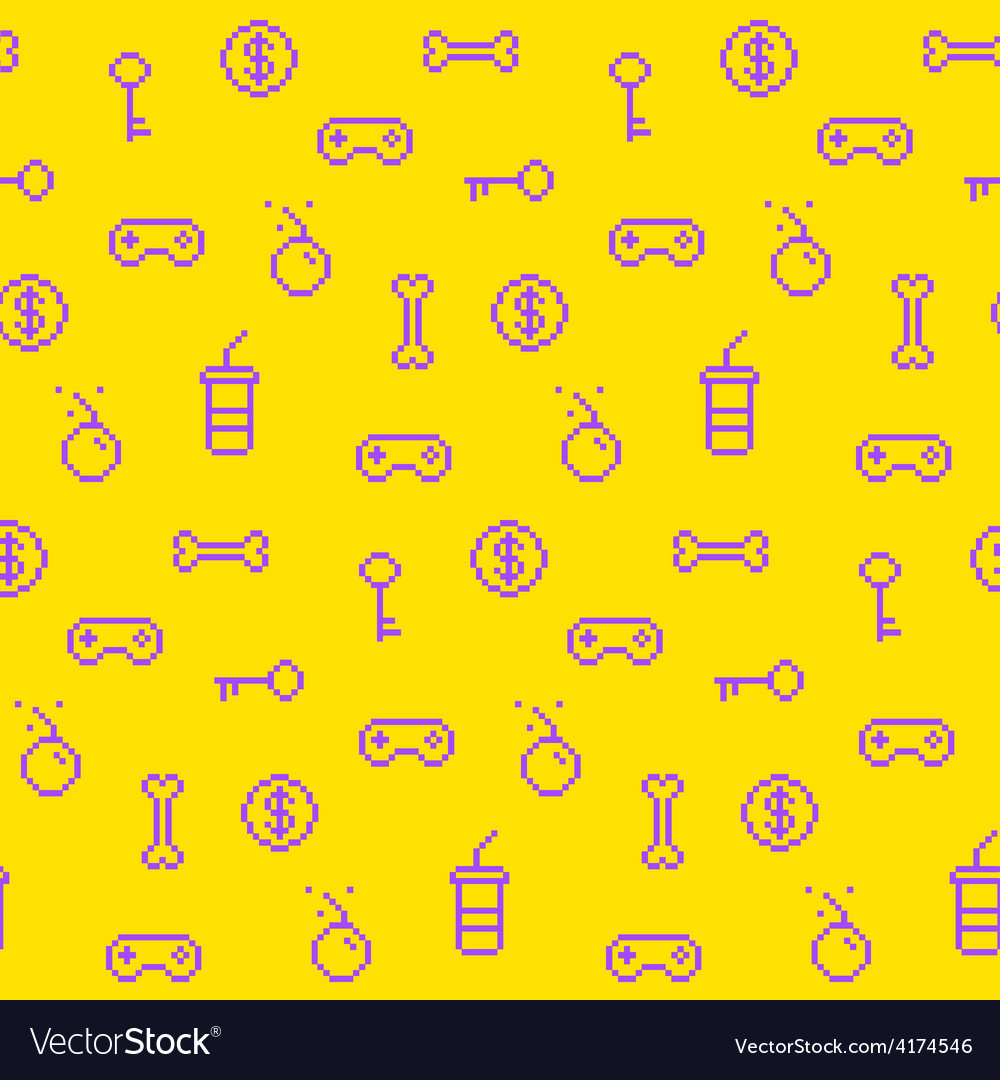 Seamless oldschool gaming inspired pattern vector | Price: 1 Credit (USD $1)