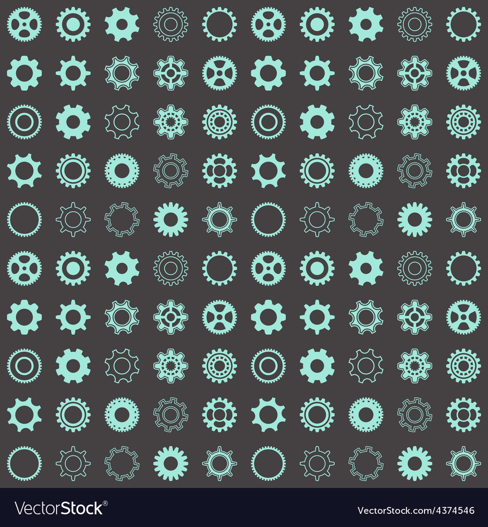 Seamless pattern with gear wheels vector