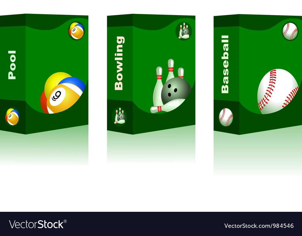 Sport box - pool bowling baseball ball vector | Price: 1 Credit (USD $1)
