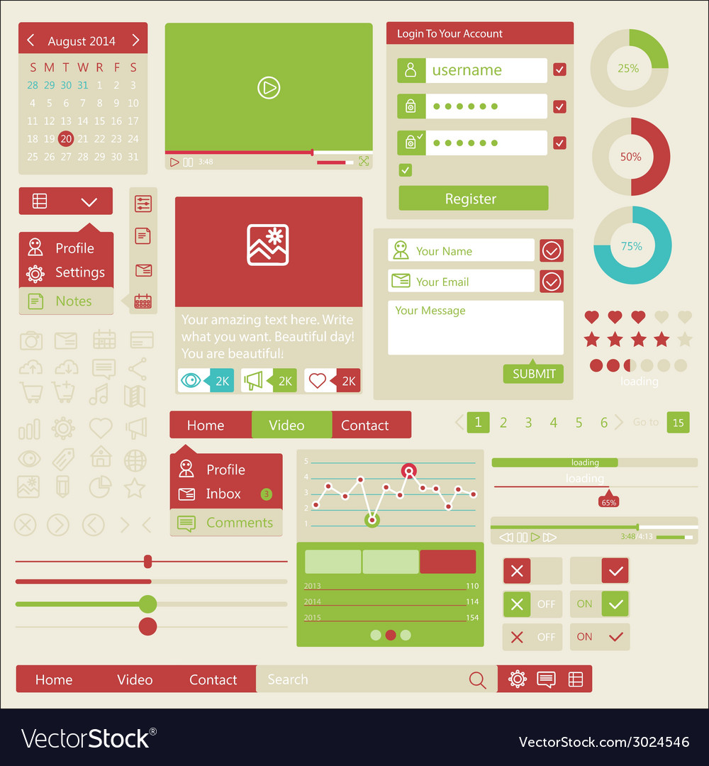 User interface flat design elements vector | Price: 1 Credit (USD $1)