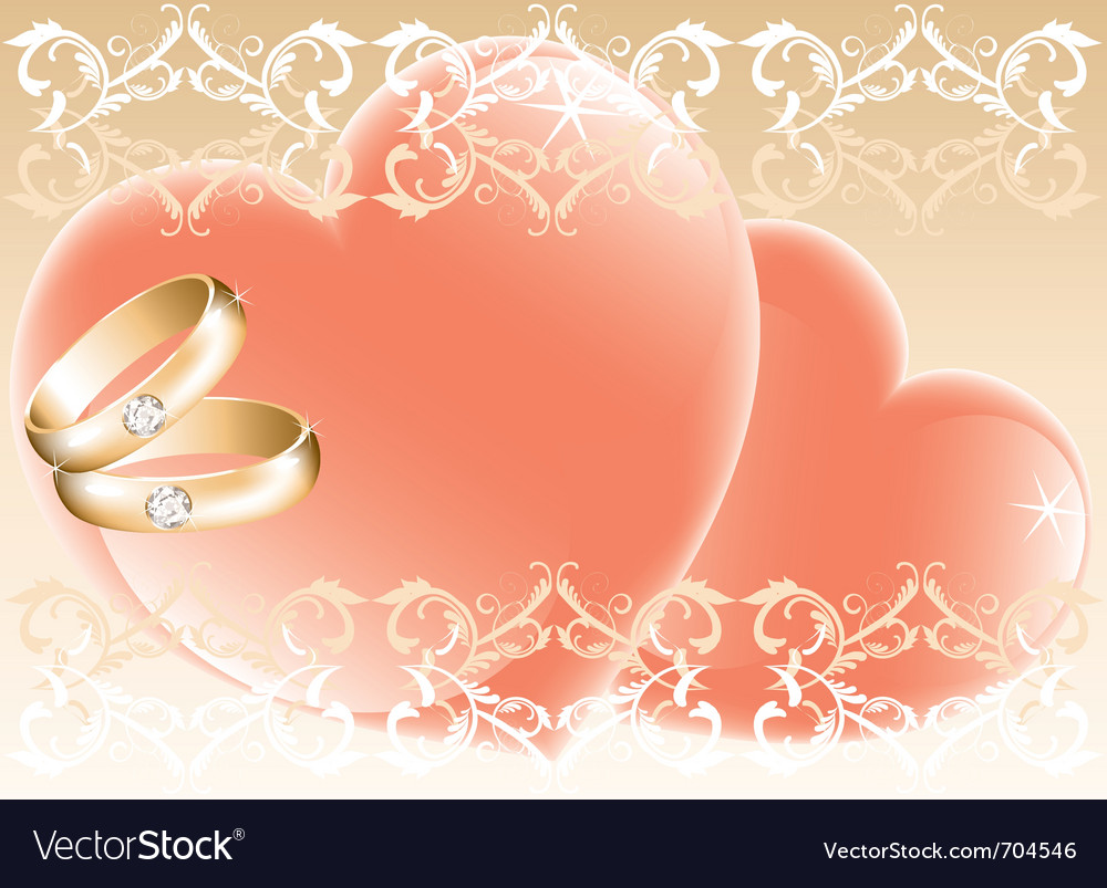 Wedding theme with golden rings and hearts vector | Price: 1 Credit (USD $1)