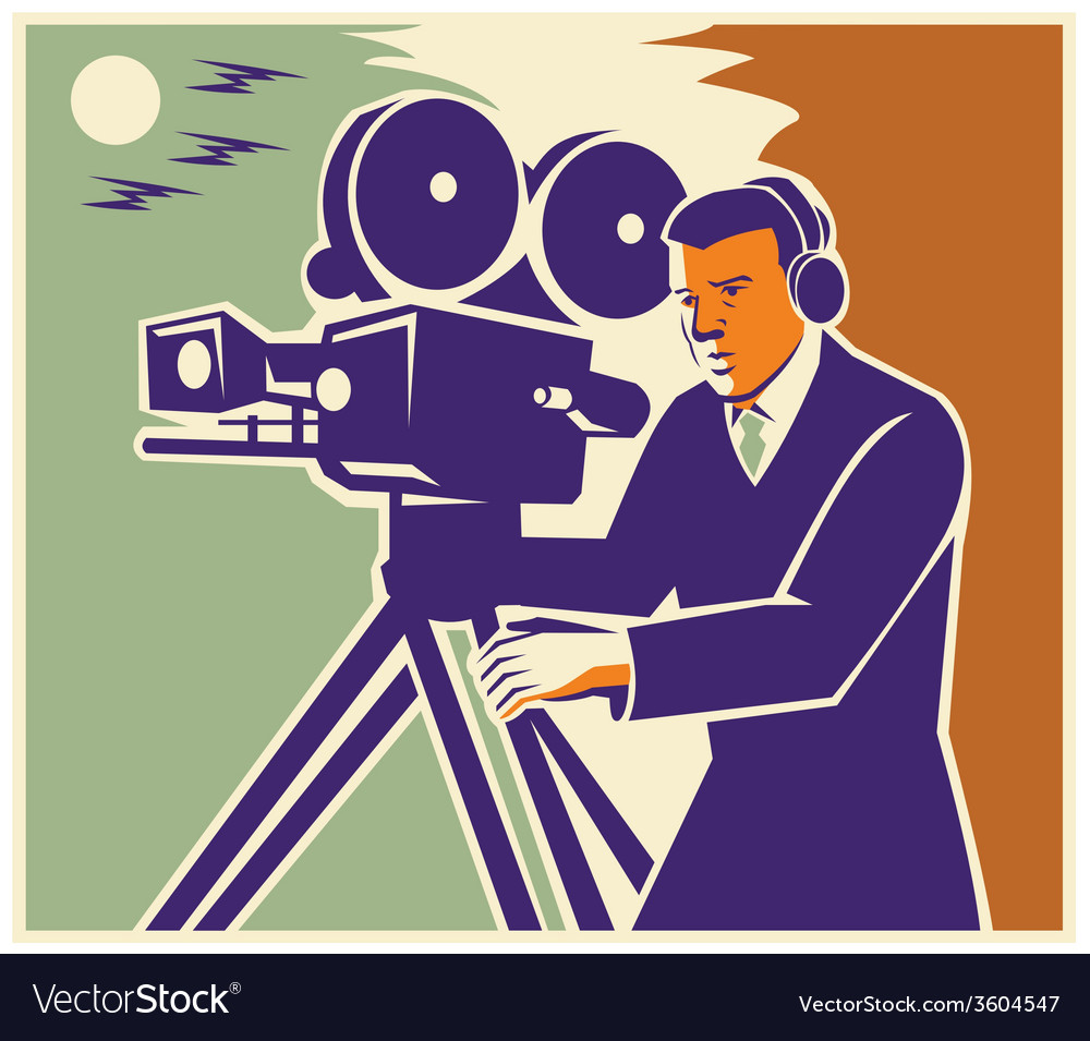 Cameraman film crew vintage video movie camera vector | Price: 1 Credit (USD $1)