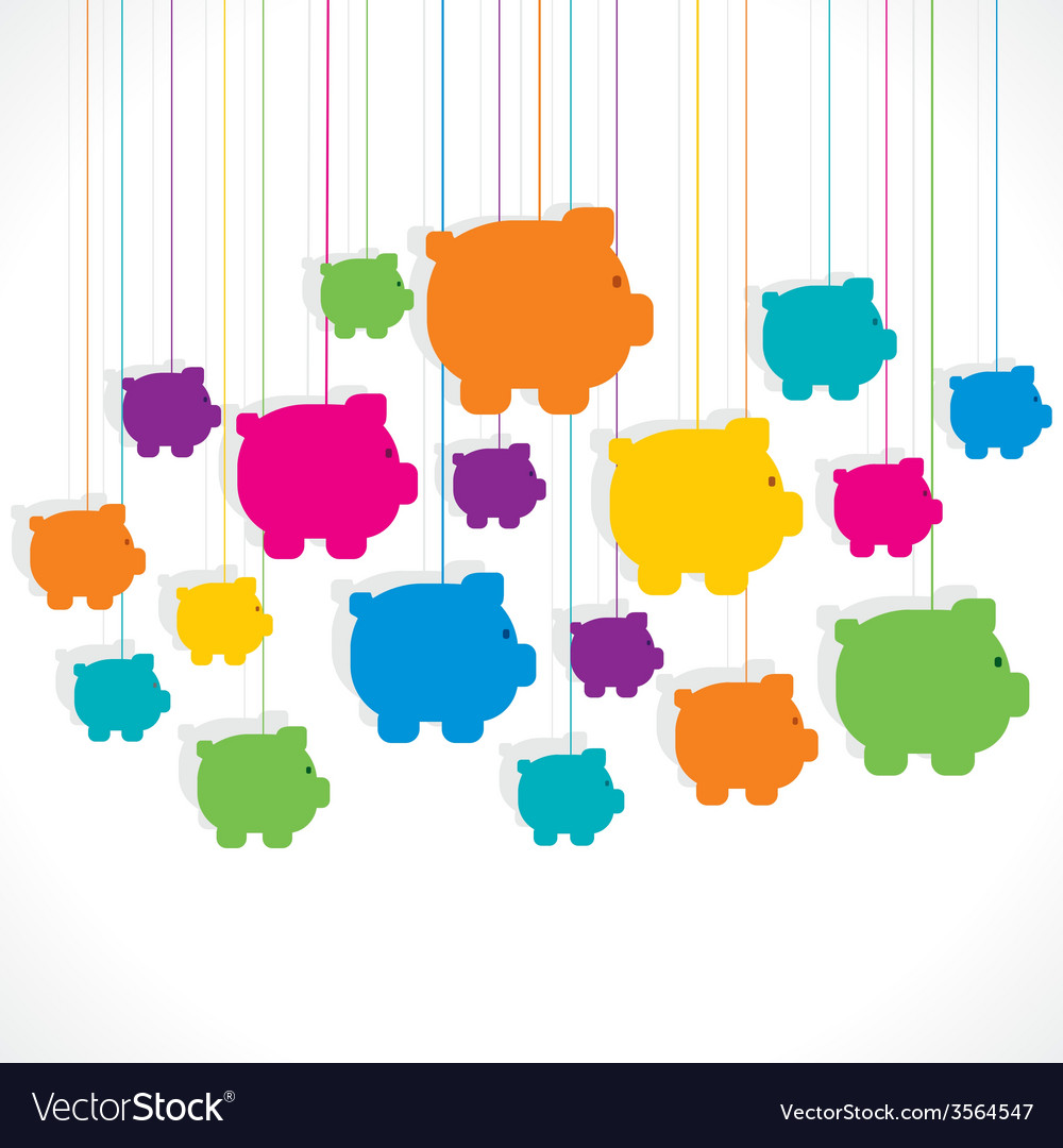 Colorful hang piggy bank background design vector | Price: 1 Credit (USD $1)