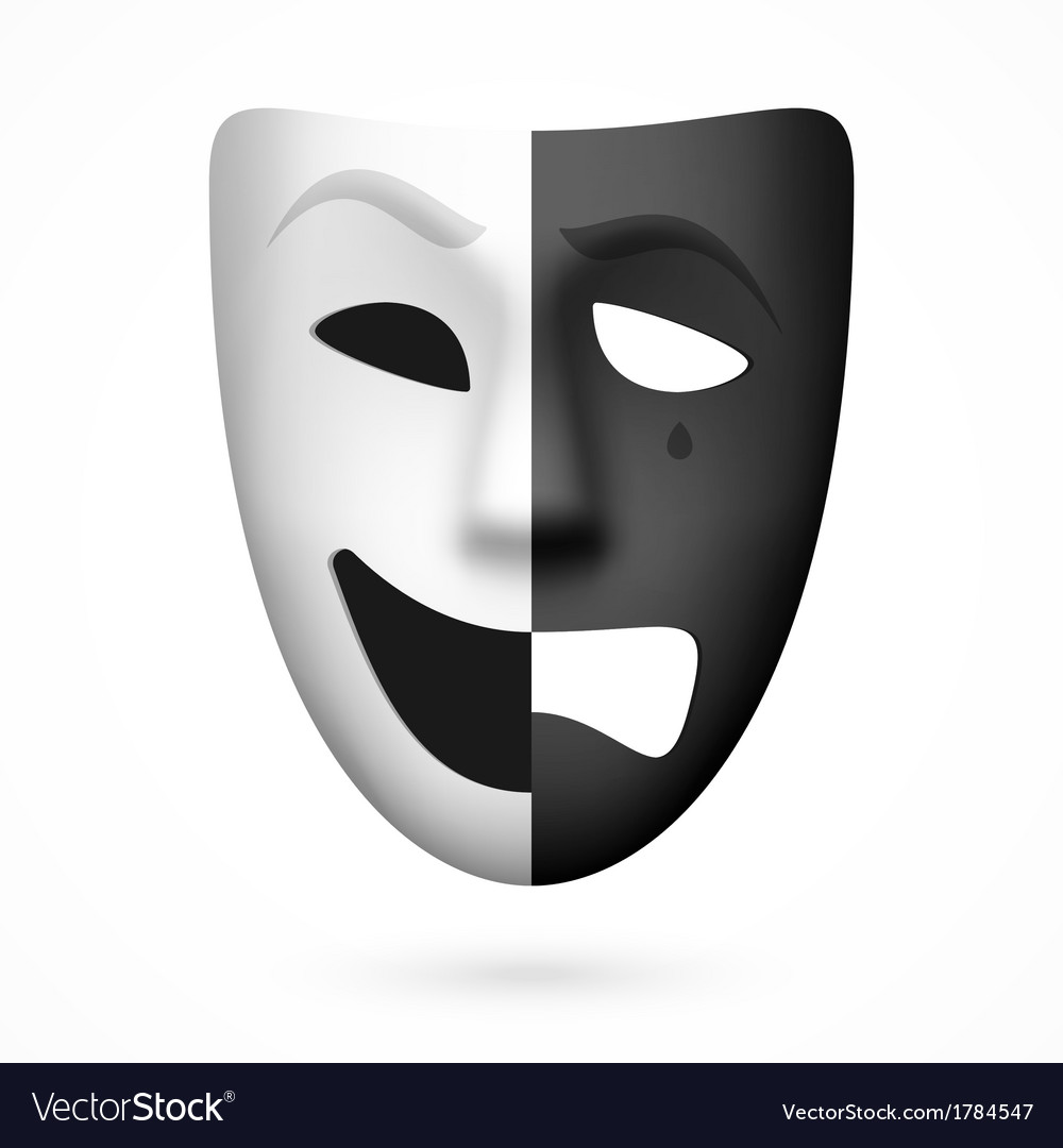 Comedy and tragedy theatrical mask vector | Price: 1 Credit (USD $1)