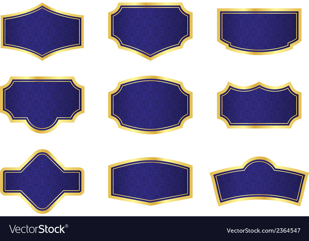 Dark blue vine labels with texture and golden vector | Price: 1 Credit (USD $1)