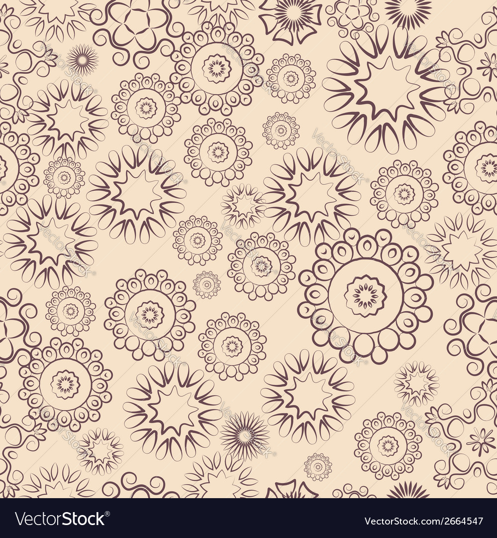 Repeating pattern of lacy flowers on a beige vector | Price: 1 Credit (USD $1)