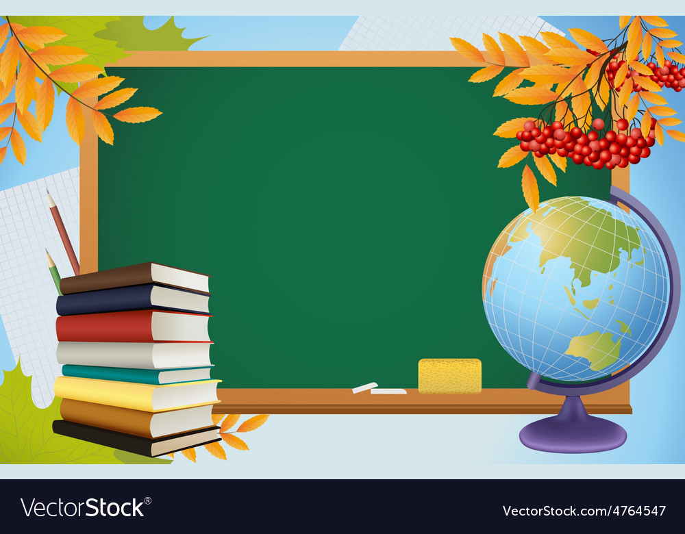 School autumn background with blackboard globe vector | Price: 3 Credit (USD $3)