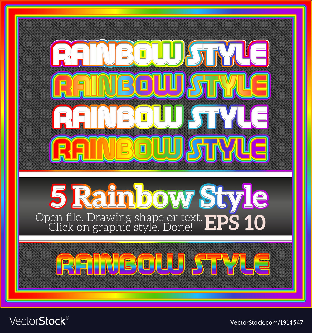 Set of rainbow decorative graphic styles for vector | Price: 1 Credit (USD $1)