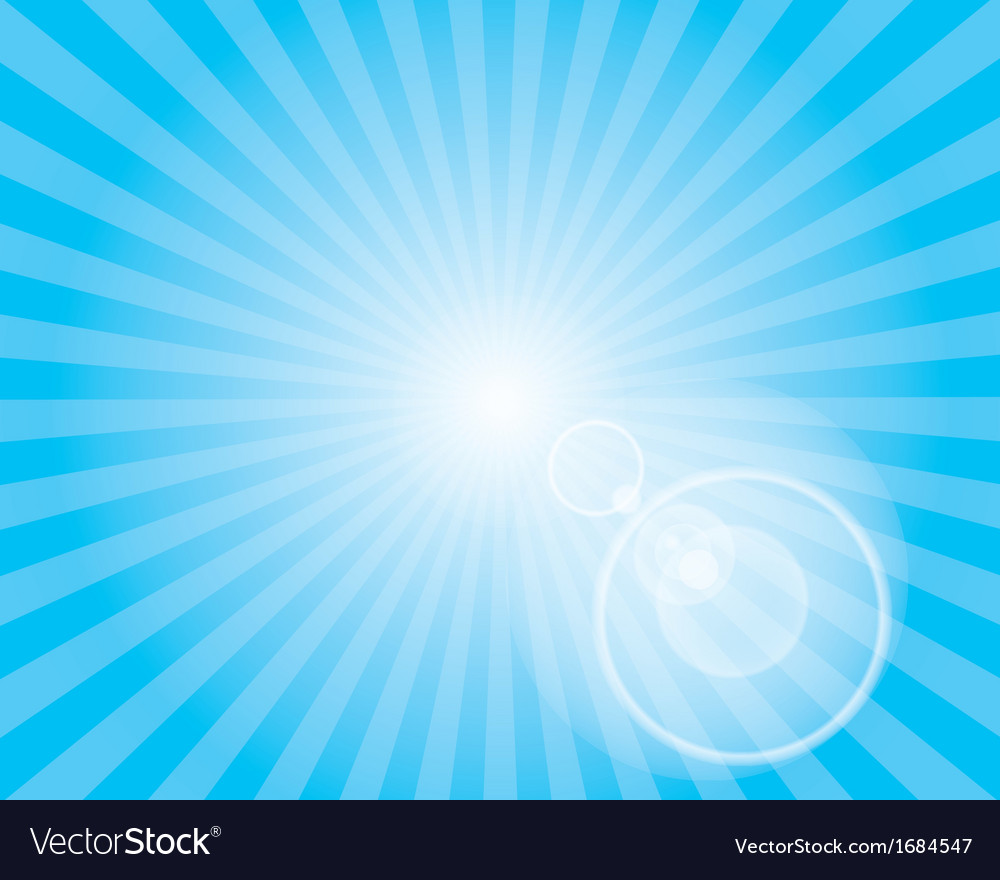 Sun sunburst pattern with lens flare blue sky vector | Price: 1 Credit (USD $1)
