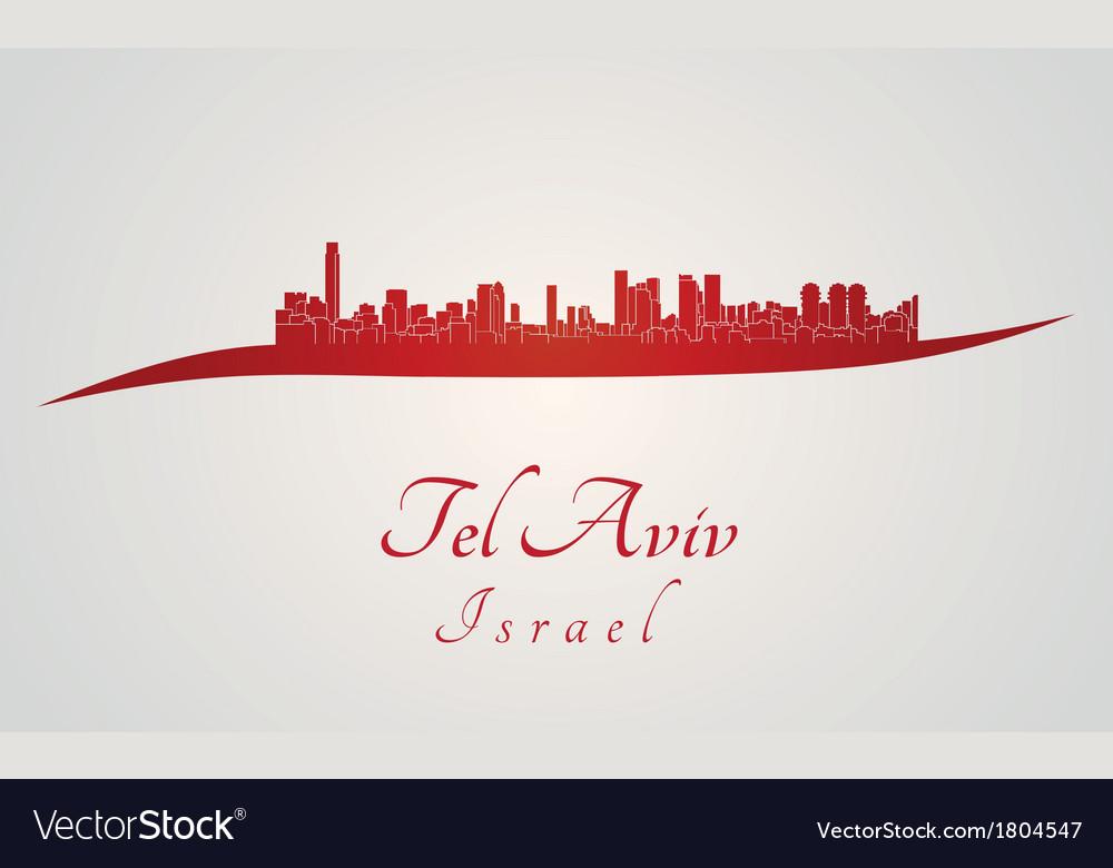Tel aviv skyline in red vector | Price: 1 Credit (USD $1)