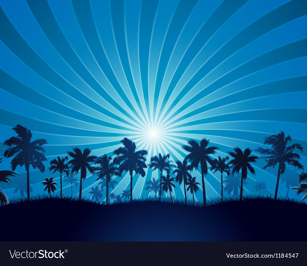 Tropical background with palm tree silhouette vector | Price: 1 Credit (USD $1)