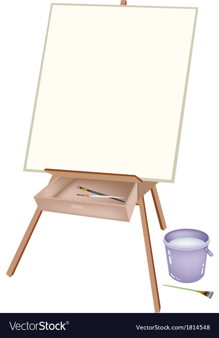 A wooden artist easel with brushes and bucket vector | Price: 1 Credit (USD $1)