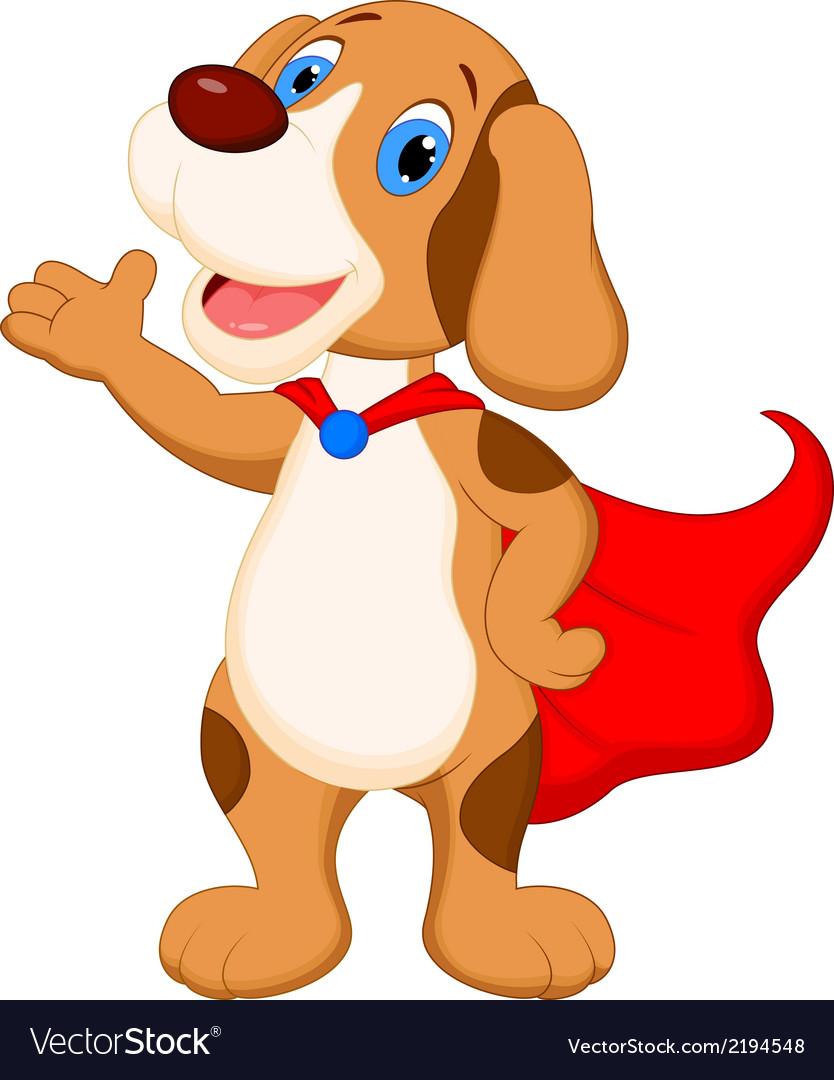 Cute super dog cartoon presenting vector | Price: 1 Credit (USD $1)