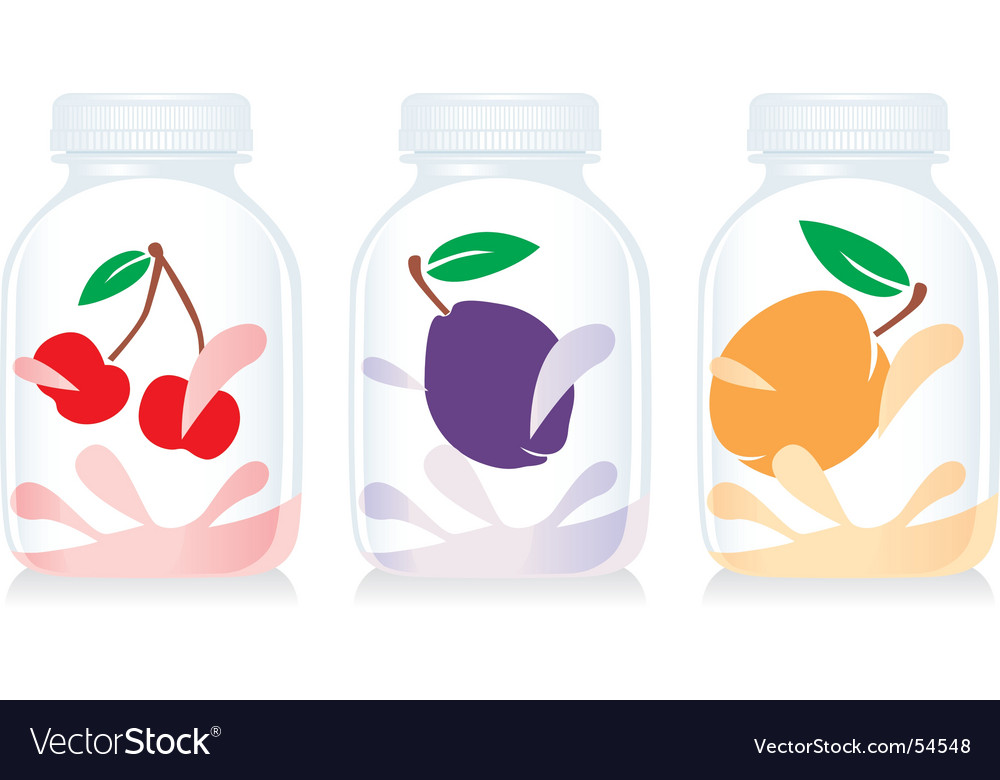 Fruit yogurt glass bottles vector | Price: 1 Credit (USD $1)