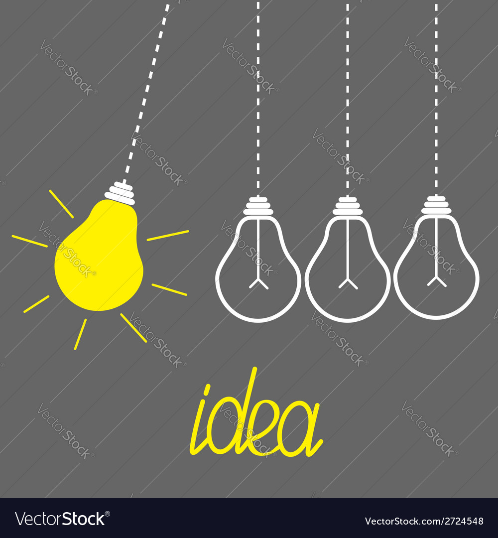 Hanging yellow light bulbs perpetual motion idea vector | Price: 1 Credit (USD $1)
