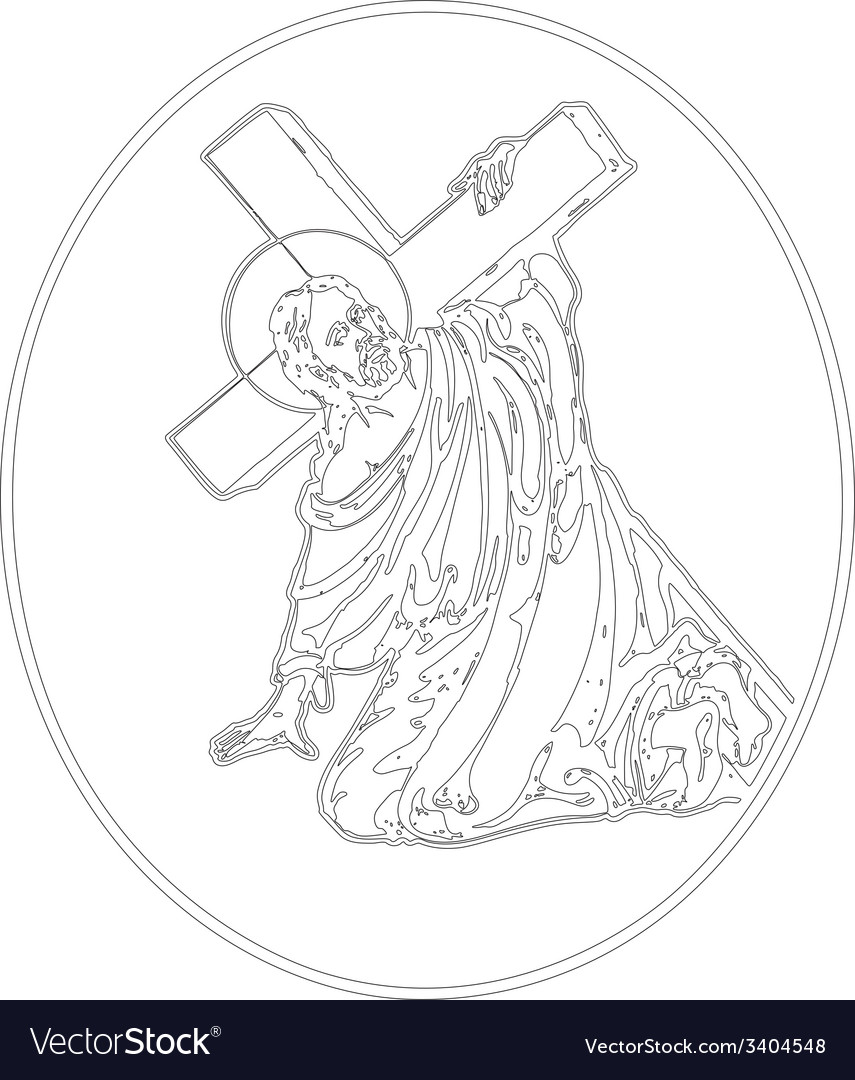 Jesus carrying cross vector | Price: 1 Credit (USD $1)