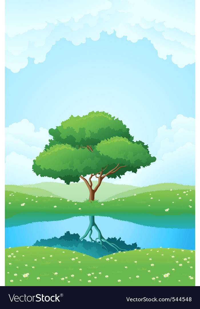 Lush green landscape vector | Price: 1 Credit (USD $1)