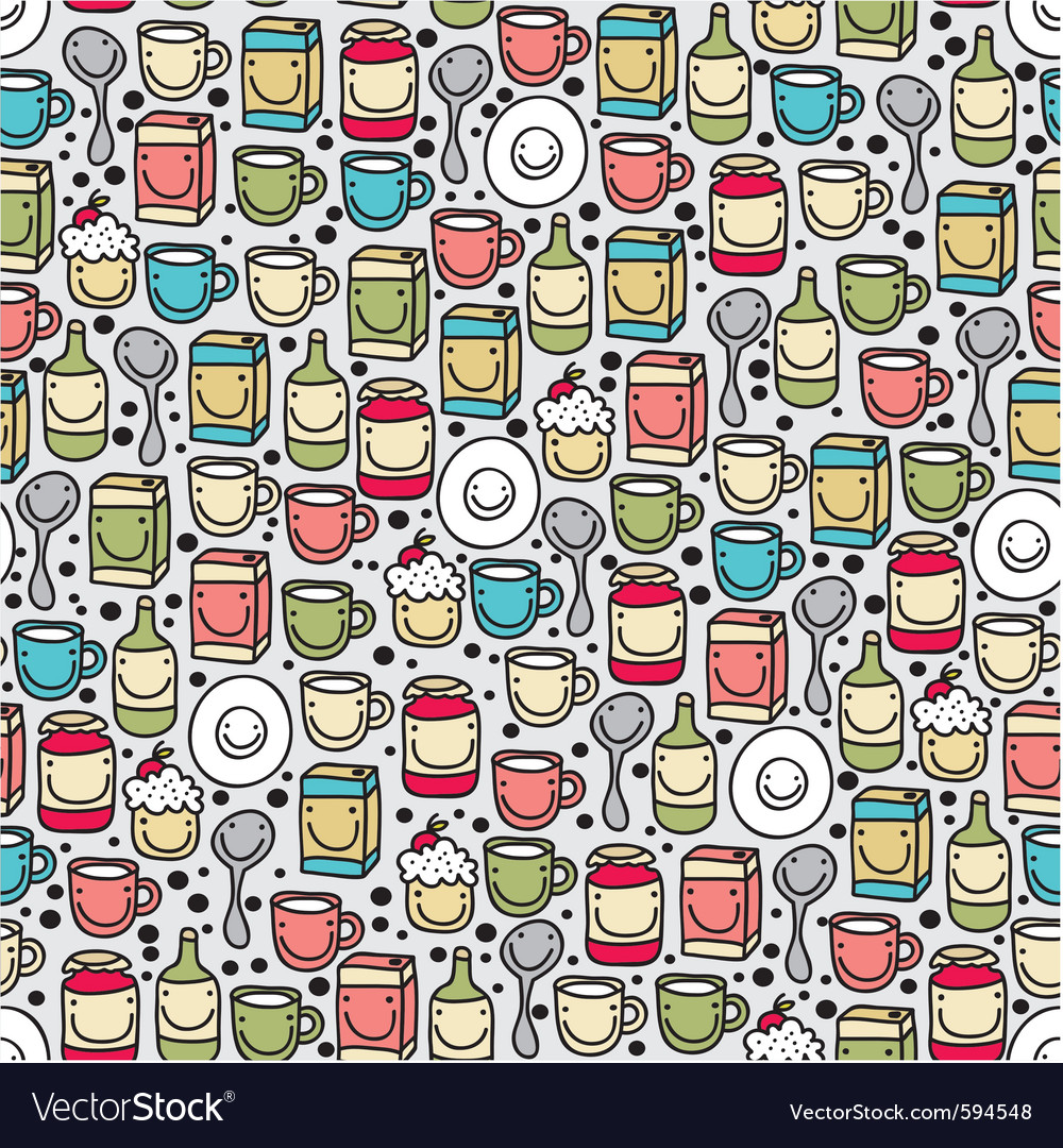 Seamless kitchenware pattern vector | Price: 1 Credit (USD $1)