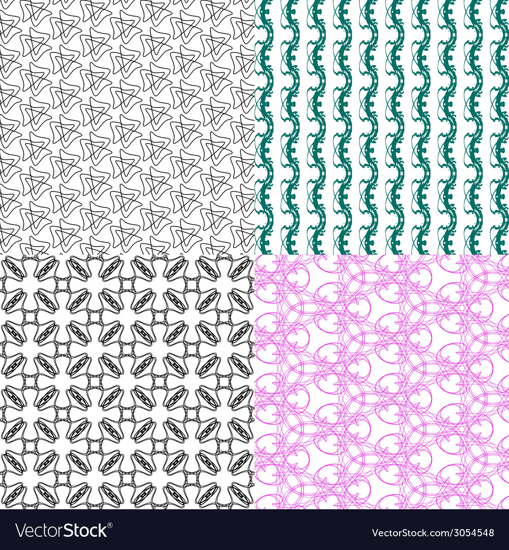 Set of abstract vintage geometric wallpaper vector | Price: 1 Credit (USD $1)