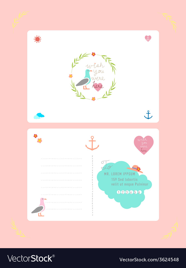 Summer postcard vector | Price: 1 Credit (USD $1)