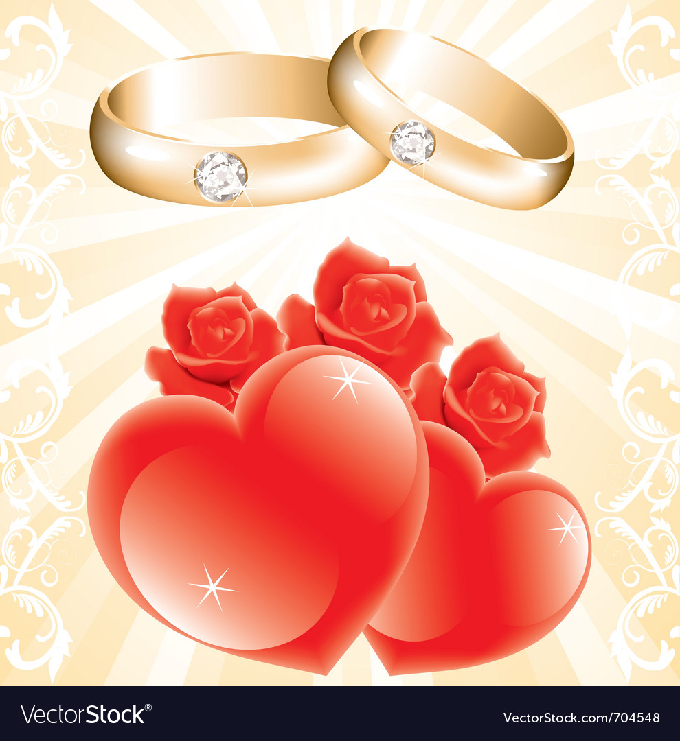 Wedding theme with golden rings roses and hearts vector | Price: 1 Credit (USD $1)
