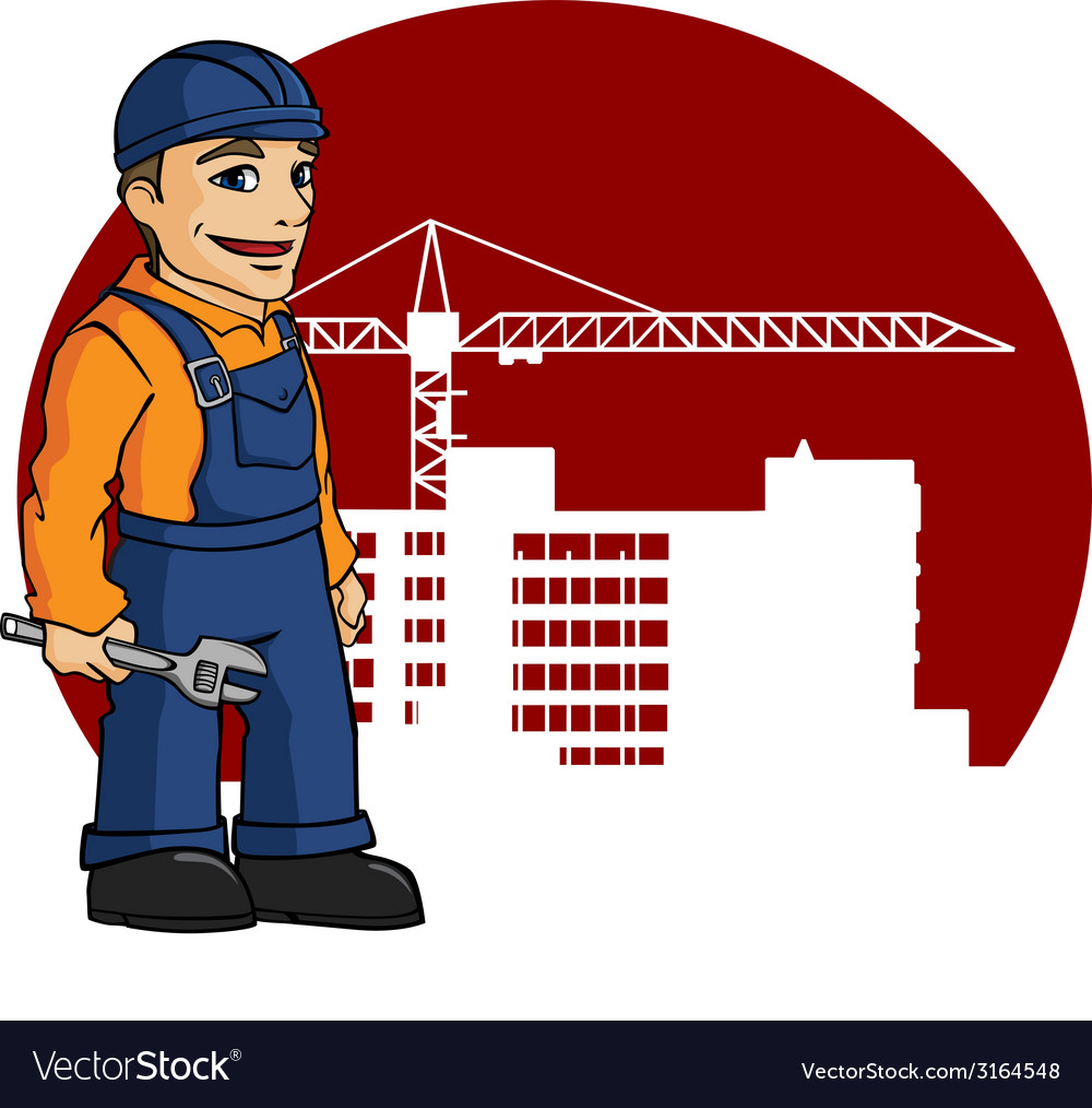 Worker on building site vector | Price: 1 Credit (USD $1)