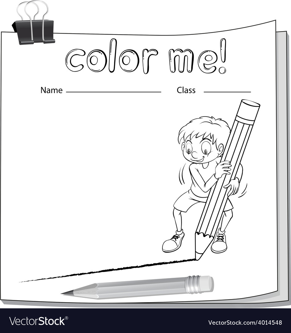 Worksheet showing a boy drawing a line vector | Price: 3 Credit (USD $3)